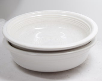White Fiesta Bowls / Pair / set of 2 / post 1986 color Fiesta / Pet dish / white soup bowls / cereal bowls / Winter white / snow
