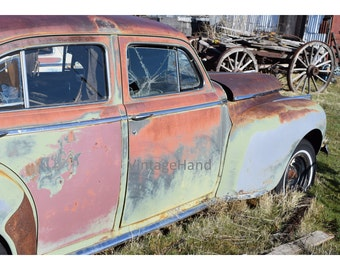 Rusty history Digital download / Vintage 30s roadster and wood wagon / chippy / country / rustic / Photograph / Art / Home Decor