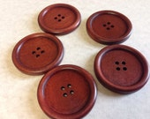 SALE, Large Wooden buttons, Reddish Brown - New sew through matching brown round buttons, 10 pcs, 40 mm, just over 1.5 inches