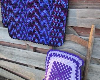 "Vintage Afghan Crochet 1970's retro purple 56x31"" with crochet pillow"