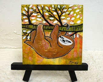 Baby Sloth - mini original painting - Hold on Baby
