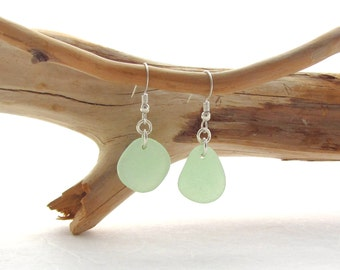 Sterling Silver French Ear Wire with Seafoam Beach Glass\Sea Glass