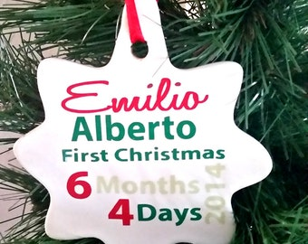 Month and Day Baby's First Christmas Ornament