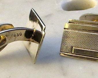 Modernist 830S Silver Cufflinks Cuff Links Scandinavian Pivot Link