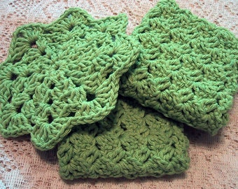 Country Kitchen Set 3 Piece -  Two Dish Cloths & Hot Pad -  Handmade Crocheted - Cotton Yarn - Lime Color- eco friendly