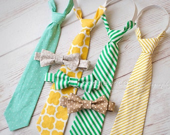 SALE- Boy's SPRING 2015 Neckties and Bowties- 5 Designs to choose from- Coordinates with all 2015 Spring Dresses