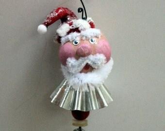 Whimsical Folk Art Santa Christmas Ornament Holiday Decoration