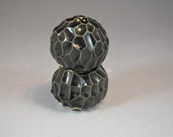 Textured Nesting Salt and Pepper Shaker Set in Black Glaze - Handbuilt