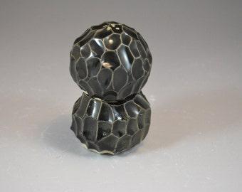 Textured Nesting Shaker Set in Black Glaze - Handbuilt