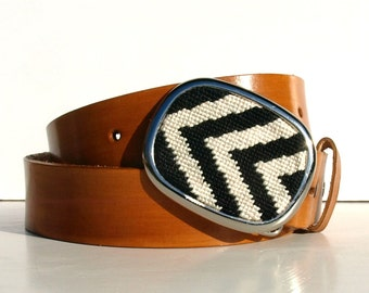 Needlepoint Sideways Chevron Belt Buckle