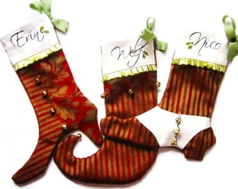 Custom Victorian Family Set of Christmas Stockings/Boot with Spats/Victorian Ladys Boot/Childs Jester Boot.