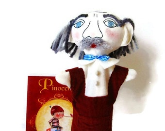 Custom Hand Puppet Gepetto - Pinocchio's Father- Grandfather Puppet-Old Man Puppet