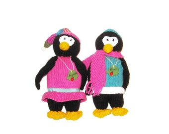 Penguins in Clothes - Custom Twins Boy and Girl/ Custom Made Twin Penguins
