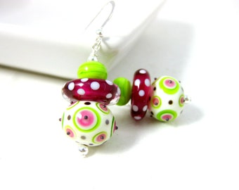 Colorful Polka Dot Earrings, Funky Jewelry, Fun Earrings, Dangle Earrings, Hot Pink Green White Lampwork Glass Earrings, Whimsical - Pebbles