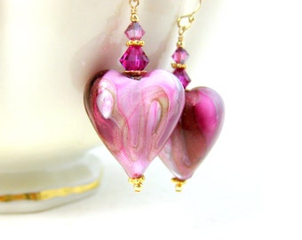 Pink Heart Earrings, Valentine's Day Earrings, Murano Earrings, Heart Jewelry, Romantic Earrings Pink Gold Glass Earrings Gift for Her Adore