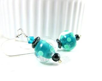 Green Polka Dot Earrings, Teal & Gray Earrings, Glass Earrings, Lampwork Earrings, Retro Earrings, Drop Earrings, Glass Earrings
