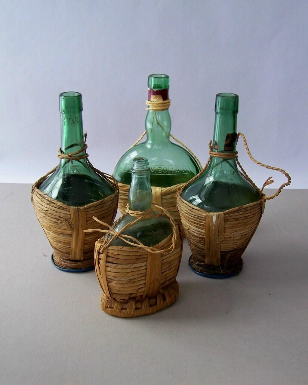 Vintage green glass wine bottles straw by lovelyhomevintage for Green glass wine bottles