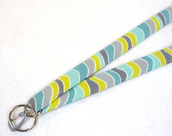 Wavy Stripe Fabric Lanyard Breakaway Lanyard ID Badge Holder ID Clip Key Ring Fob Gray Chartreuse Aqua Turquoise Blue MTO