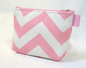 Chevron Pouch Baby Pink White Zig Zag Bridesmaid Gift Cosmetic Bag Zipper Pouch Makeup Bag Gadget Pouch MTO