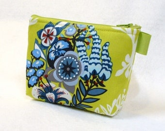 CLEARANCE SALE Floral Pouch Anna Marie Horner Fabric Cosmetic Bag Zipper Gadget Pouch Makeup Bag Cotton Zip Pouch Blue Chartreuse Green