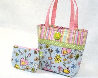 Pastel Bird & Heart Childs Purse Little Girls Purse Coin Purse Set Floral Fabric Mini Tote Bag Kids Bag Blue Pink Lavender Yellow MTO