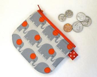 Cute Elephants Mini Coin Purse Elephant Parade Mini Change Purse Little Zipper Coin Purse Gray Red Bungle Jungle Handmade MTO