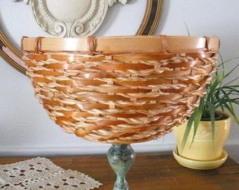 Upcycled Pedestal Basket Woven Basket on a Verdigris Pedestal ~~ Centerpiece ~ Fall decor