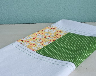 Pretty yellow floral and green polka dots