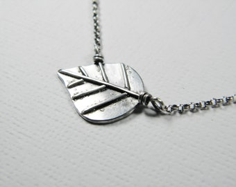 Sterling Silver Leaf Necklace -Oxidized .925 sterling, handcrafted, for nature lovers, gardeners, with ajustable length