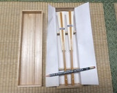 Vintage Pair of Bamboo FANs in Wooden BoX - His and Her Wedding GiFT - FREE SHiPPiNG!!!