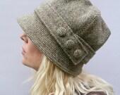 Harris Tweed Cloche Hat - Green/Beige Herringbbone, Women's Hat, Fabric Hat, Wool Hat