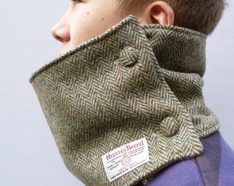 Men's Harris Tweed Neckwarmer - Green/Beige, mens scarf, circle scarf, cowl