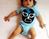 Baby Bodysuit - Luchador Negro - Black Mexican Wrestler -Blue Infant Bodysuit - Lucha Libre - Luchador Mask - Lucha