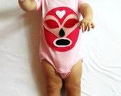 Baby Girl Bodysuit - Luchador Rosa - Pink Mexican Wrestler  - Infant Bodysuit - Lucha Libre - Luchador Mask - Lucha