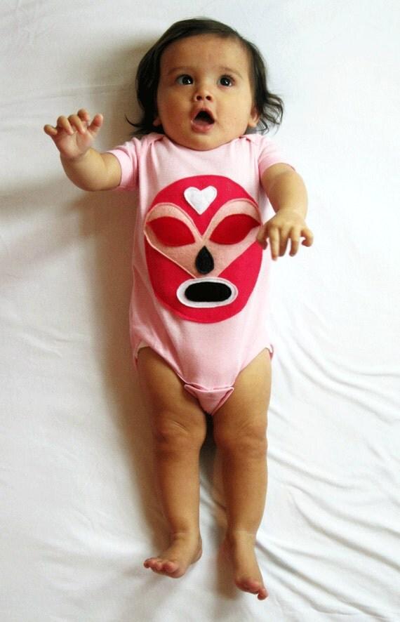 baby girl onesie luchador rosa pink mexican wrestler infant