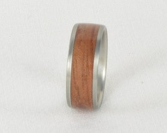 Wood Ring - Bubinga Wood Ring with Stainless Steel Core, Wood Ring, Wedding Ring, Wedding Band, Engagement Ring