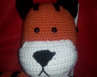 Large tiger stuffed animal inspired by Calvin and Hobbes