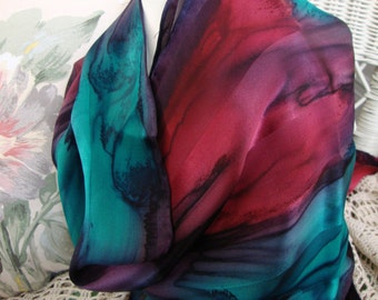 Scarf, Silk, Women, Hand Dyed, Silk Scarf, Plum, Silk Teal, and Autumn Red