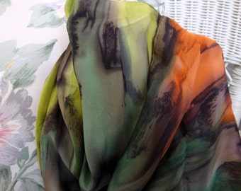 Scarf, Silk, Women, Hand Dyed, Silk Scarf, Chocolate, Chartreuse, Evergreen, Burnt Orange