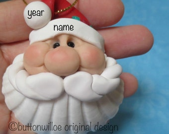 Shell Santa Ornament, Beach Lovers Personalized Shell, Santa on Shell, Scallop Shell Santa, Holly and Berries on Hat
