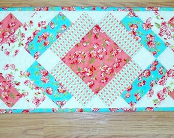 """Spring quilted Table Runner glorious colors Bonnie and Camille Ruby for Moda fabrics 12""""x48"""""""