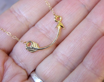 Gold  Arrow Necklace Gold Necklace Curved Arrow Pendant  Small Simple Everyday Jewelry Delicate  Modern  Necklace