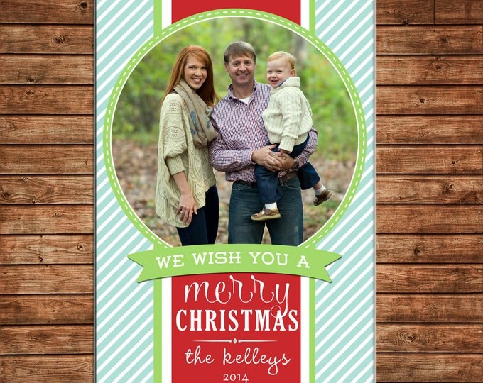 Photo Picture Christmas Holiday Card Ribbon Stripe Preppy Whimsical - Digital File