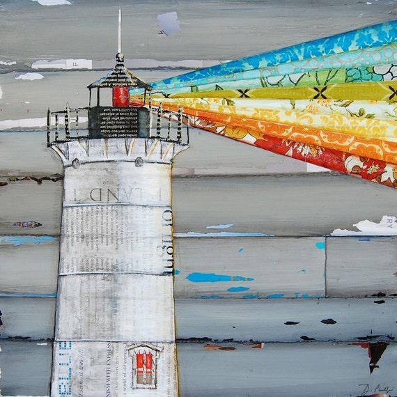 ART PRINT or CANVAS Nubble Lighthouse Maine Beach Nautical Coastal home wall decor decor summer wedding gift poster painting, all sizes
