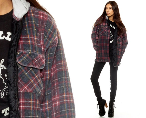 Hooded Flannel Shirt Navy Blue PLAID Jacket 90s Grunge 1990s : quilted flannel jacket with hood - Adamdwight.com