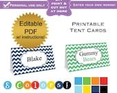 DIY editable printable tent label cards folding PDF (No.1) chevron boy baby shower or wedding bridal graduation Digital File