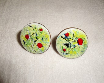 Abstract Design Unisex Vintage Enamel on Copper Cuff Links