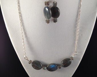 Labradorite and sterling silver necklace and earrings set