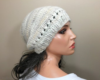 Baby Alpaca Knit Hat Beanie Multicolor Cream Tan Beige Custom Made for Women Ladies Girls Teens Young Adult // Color H2