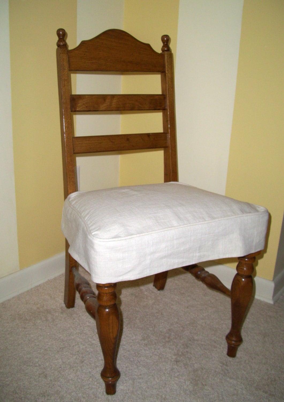 Linen Chair Seat Slipcover Tailored Skirt Washable Slipcover
